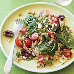 Summer Salad - Basil, Tomatoes, Spinach, Feta, Pine Nuts, Orzo ...