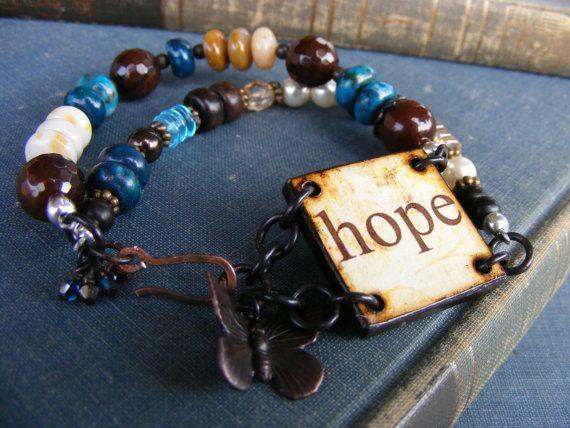 Hope Has Wings Double Strand Bracelet Wood by SoulsFireDesigns, $42.00
