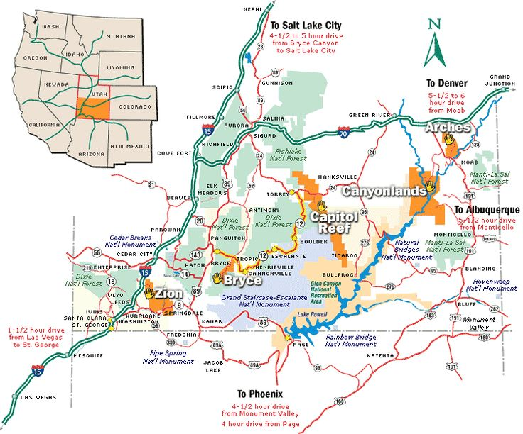 Southern Utah National Parks Map Travel Pinterest