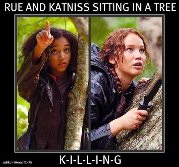 Funny Pictures Of The Week (55 Pics) Rue and Katniss sitting in a tree. K-I-L-L-I-N-G