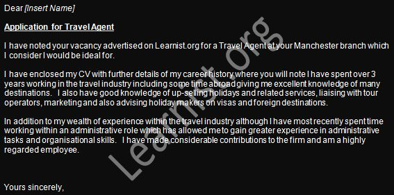 cover letter examples travel agent