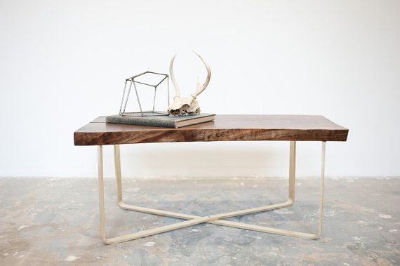 Walnut Coffee Table W Brass X Base Ready To Ship By Dylangrey 1050