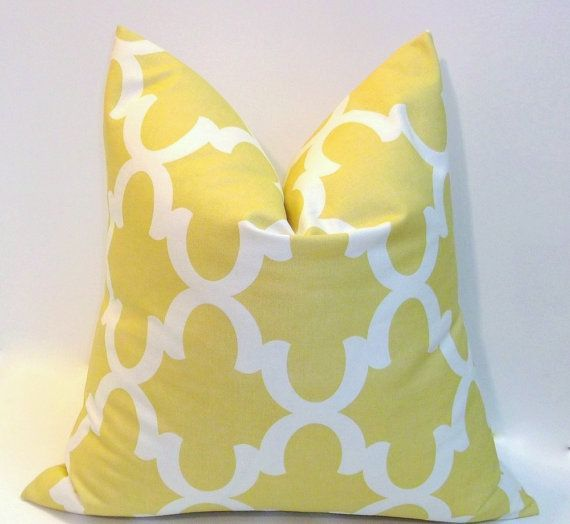 Pale Yellow Throw Pillow Cover : 20 inch Pale yellow decorative pillow cover 18 inch abstract design,