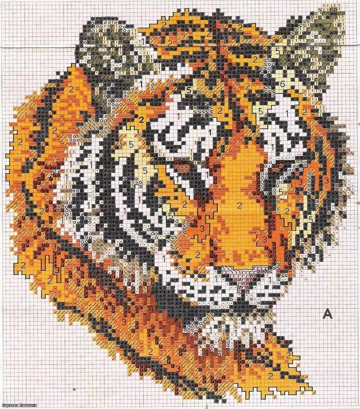 Схему вышивка крестом тигры 37
