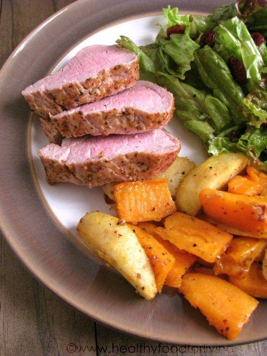 Roasted Maple-Dijon Glazed Pork Tenderloin with Sweet Potatoes and ...