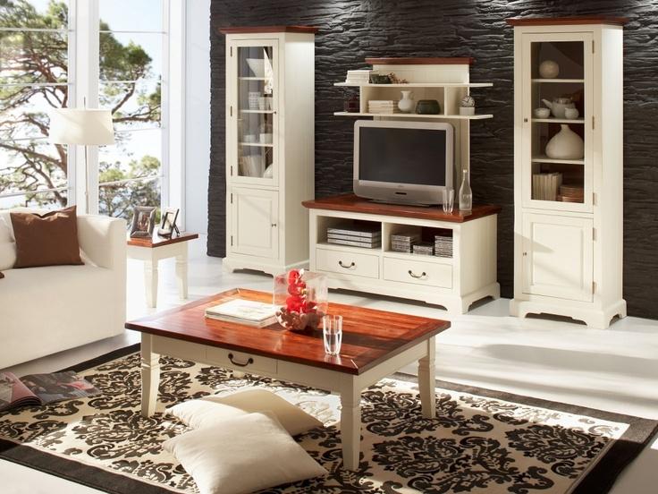 wohnzimmer antik weiß:SANTAFEE Wohnzimmer antik weiß/akazie cognac