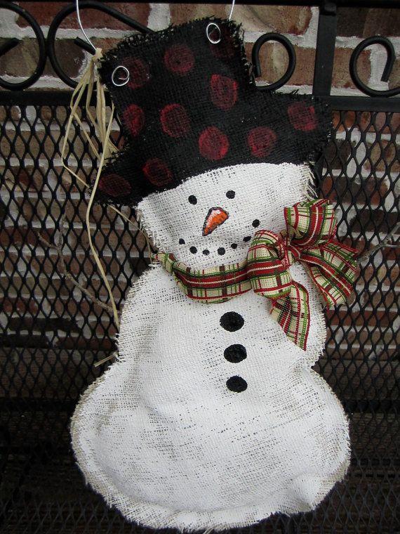 snowman burlap door hanger, DIY! i want to make you :)