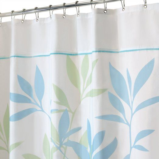 Leaves Long Shower Curtain, Soft Blue and Green, 72-Inch by 84 ...