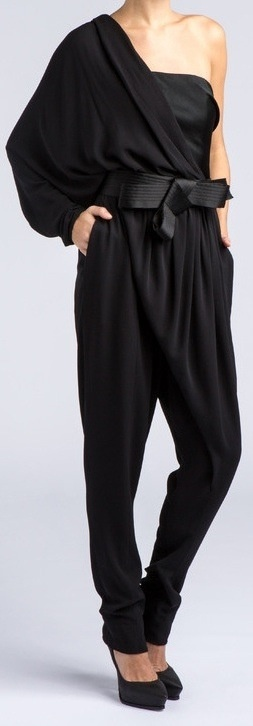 This particular black jumpsuit is an excellent example of versatility: depending on accessories it can be Sassy, Red Carpet ready or even Formal.
