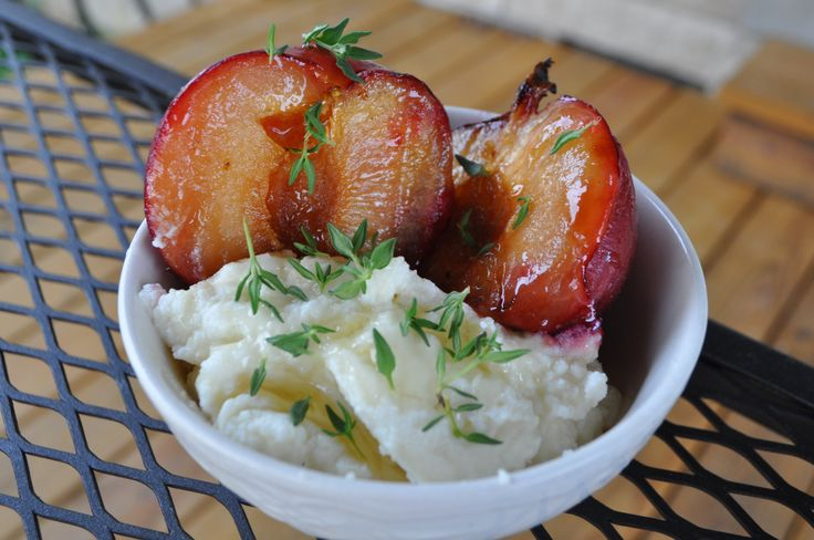 Plums with Ricotta and honey, 1 tbsp sugar 6 plums, 1 cup ricotta ...