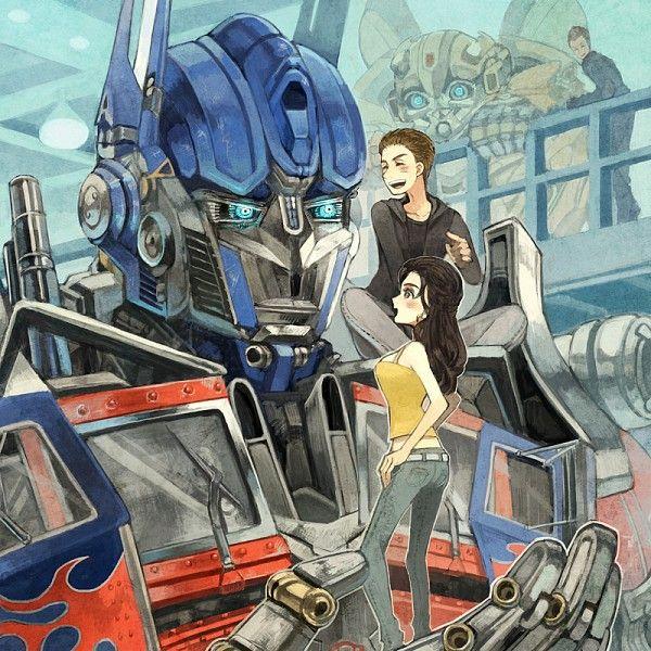 Transformers fan art optimus prime sam mikaela transformers