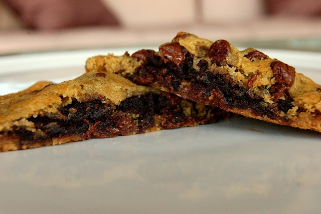 Could this sound any better??? Brownie Stuffed Chocolate Chip Cookies