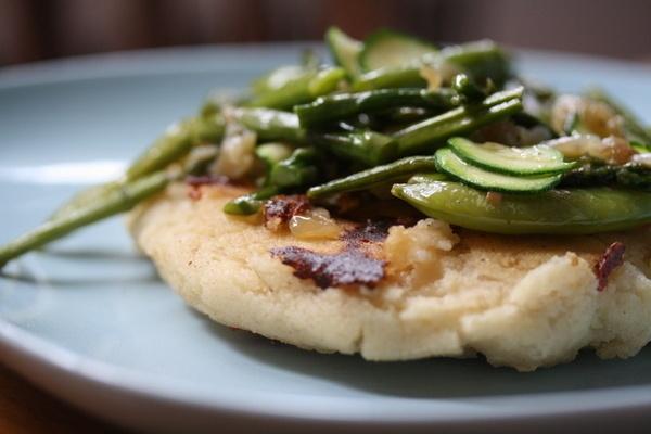 Oversized Mozzarella Arepas with Summer Veggies Sugar Snap Peas ...