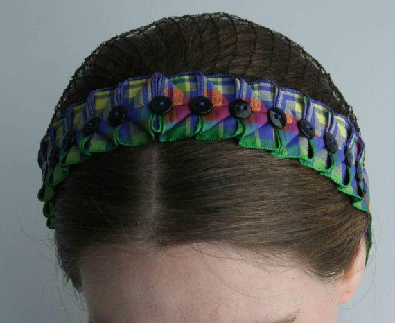 Civil War Hair Net  Plaid Ribbon by southroncreations on Etsy