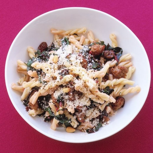 Gemelli With Sausage, Swiss Chard, and Pine Nuts | Recipe