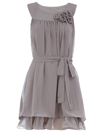 lovely gray dress. Would make a pretty bridesmaid dress!