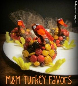 Make these cute turkeys with pipe cleaners, netting and m & ms.