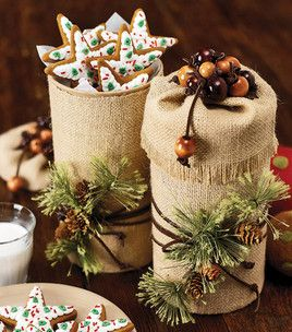 DIY ALERT:  Burlap treat boxes - covered oatmeal containers for cookies! Pretty!