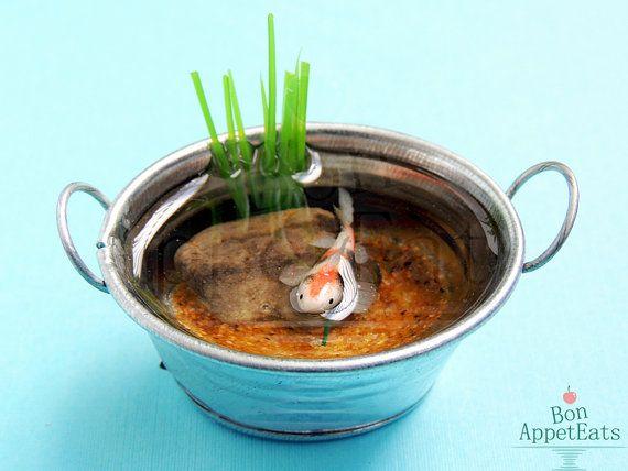 Handmade Miniature Metal Tub Pond With Large Calico Koi