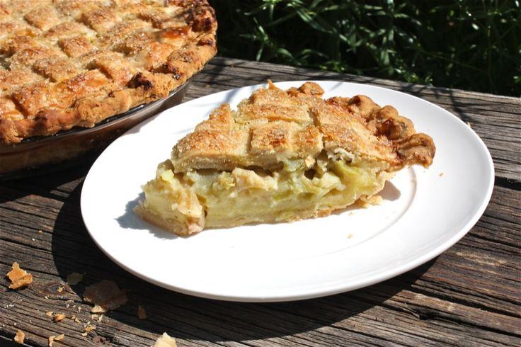 Latticed Rhubarb Pie Recipe — Dishmaps