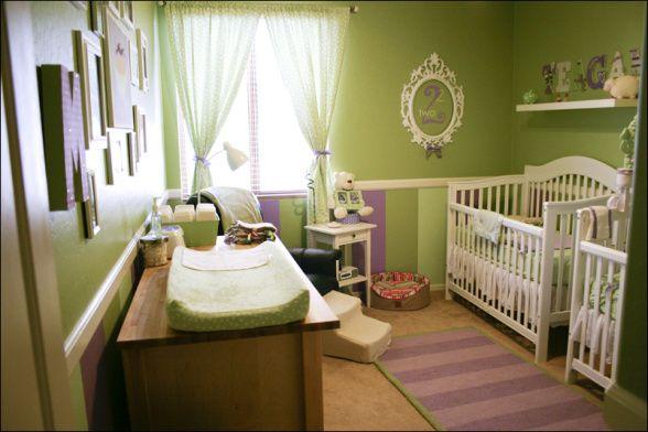 Twin Girl Nursery Green Purple Oh Baby Pinterest