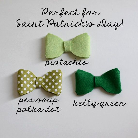 Bows - $3.50 - Polka dot or Solid Kelly Green, Pistachio, Pea Soup ...