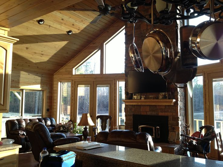 Pin by marianne lemkau on lakehouse ideas pinterest for Open floor plans with vaulted ceilings