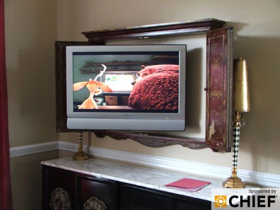 To hide a flat screen use a cabinet for the home pinterest for Tv cabinets hidden flat screens