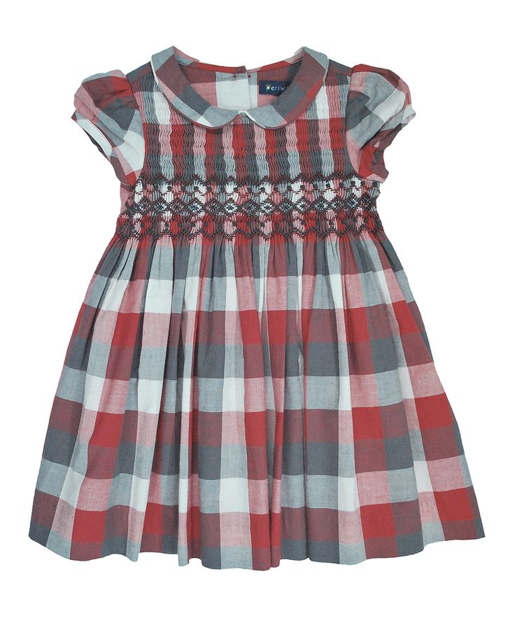Red plaid smocked dress for my baby girl pinterest