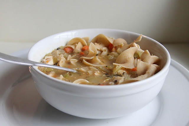 Chicken Noodle Soup...chicken goes in at the end so it's good for ...