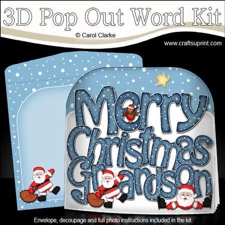 MERRY CHRISTMAS GRANDSON Santa Pop Out Xmas Word Card