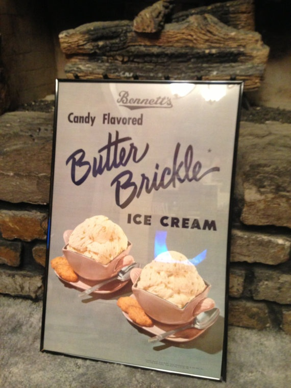 ... Bennett's Candy Flavored Butter Brickle Ice Cream Advertising
