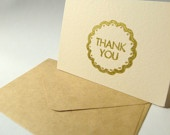 Gold color Heat emboss Thank you card set