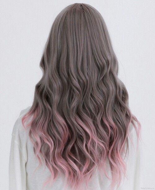 muted brown with pink tips hair color pinterest