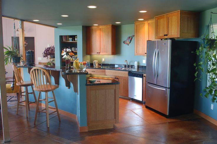 Yurt kitchen for the love of yurts pinterest for Yurt interior designs