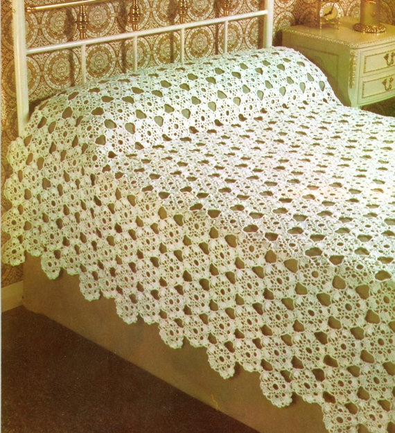 Crochet Bedspread Afghan Lampshade Vintage Pattern PDF 270 from Wonky ...