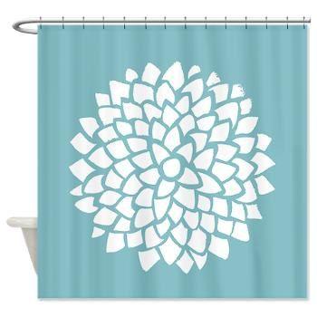 Teal Blue Dahlia Fabric Shower Curtain Minimalist Blue And White Fl