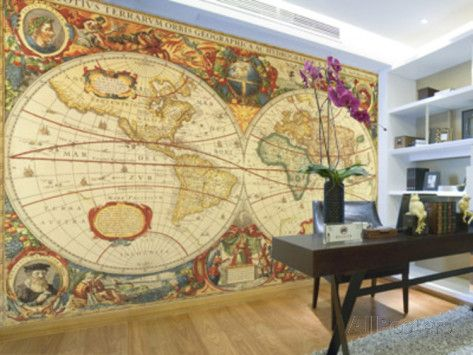 Antique world map giant wall mural poster wallpaper mural for Antique world map wallpaper mural