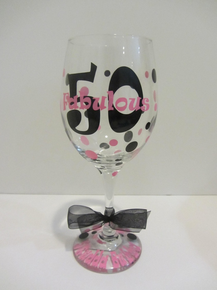 50th Birthday Extra large personalized wine glass- fabulous 50