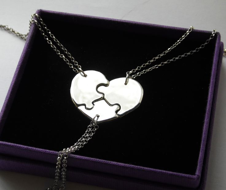 silver two best friends puzzle necklace pendant