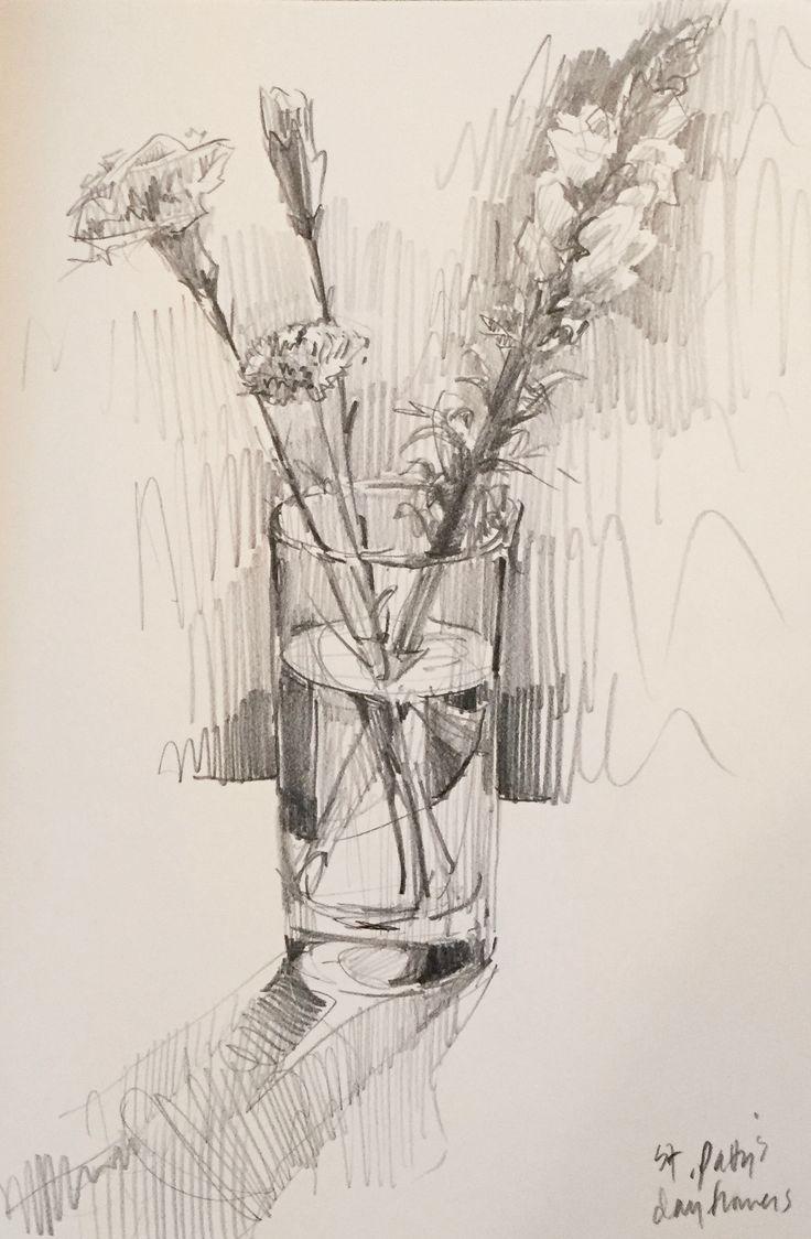 Рисунок цветов карандашом с днем рождения