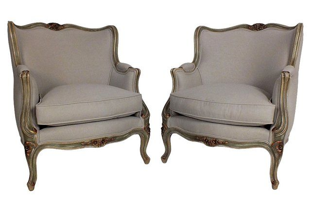 Obsessed with these one-of-a-kind vintage Louis XV-style accent chairs.