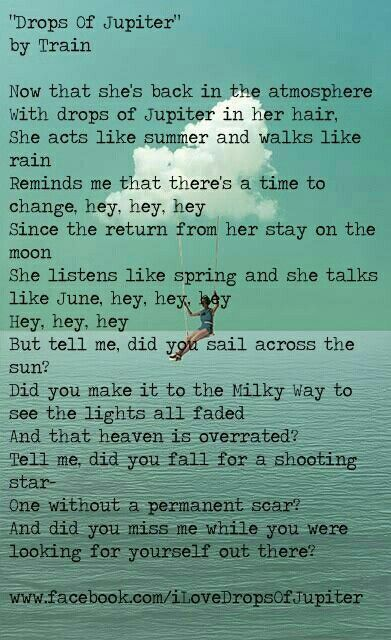 train lyrics drops of jupiter music pinterest