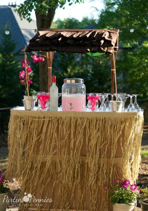 Hawaiian Backyard Party Ideas : Luau Party by PartiesforPenniescom  DIY Tiki Hut  #luau #diy #