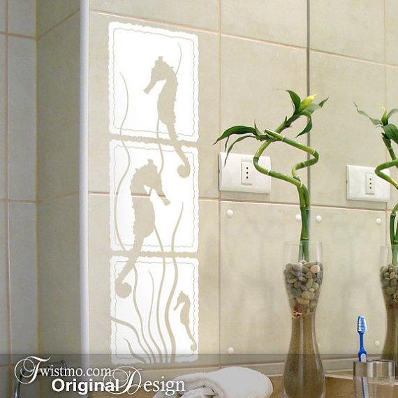 Seahorse bathroom tile decals dream house bathrooms for Bathroom tile stickers