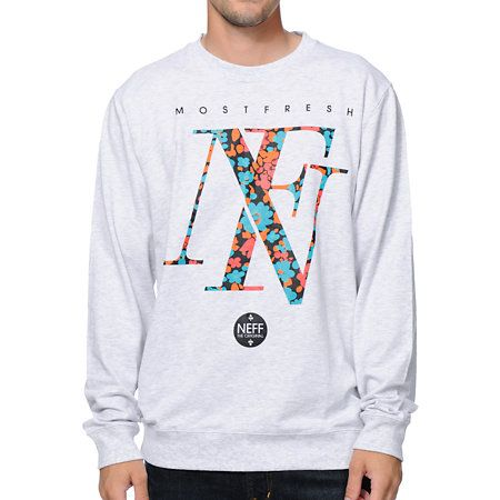 With the neff floral grey crew neck sweatshirt you ll definitely be