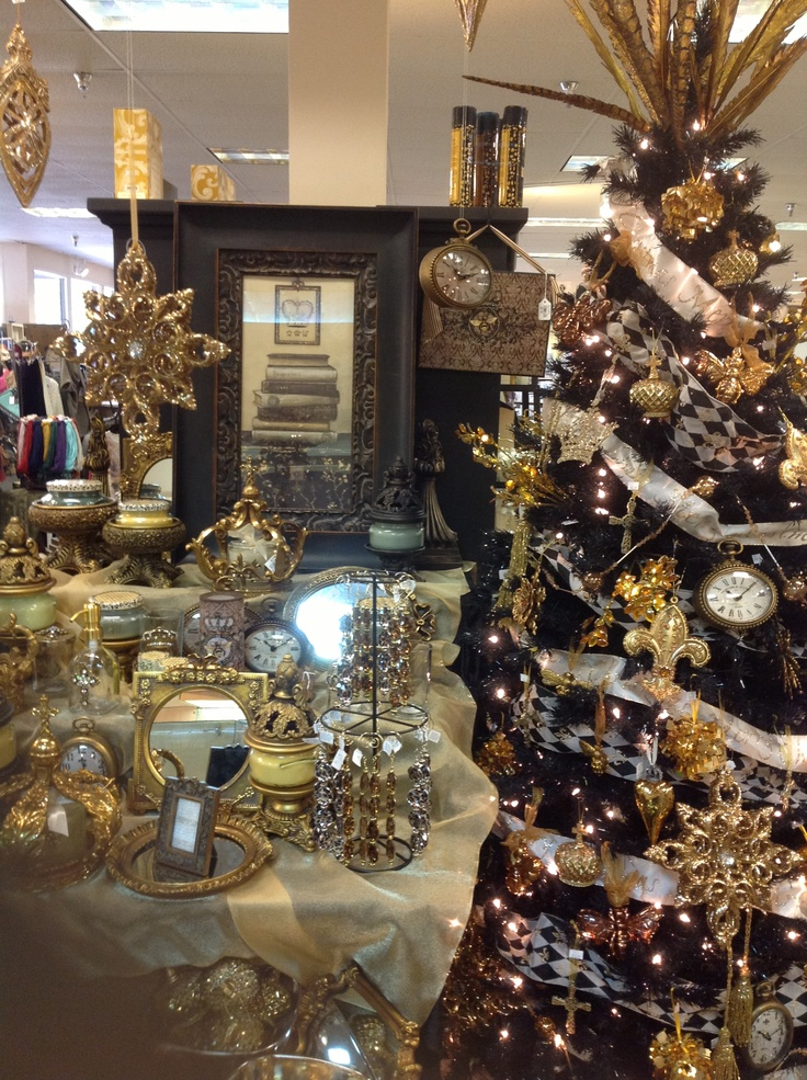 Black And Gold Christmas Tree Holiday Fun Pinterest
