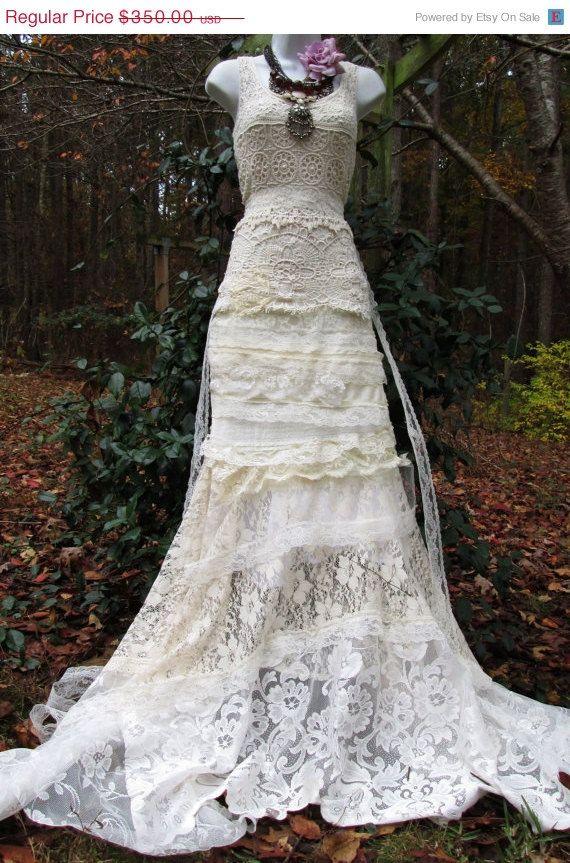 Cream wedding dress antique crochet lace rose mermaid for Crochet wedding dresses for sale