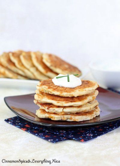 Cheddar Corn Cakes with Green Onion Sour Cream by Cinnamon Spice and ...