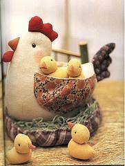 gallina y pollitos de tela
